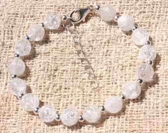 Bracelet 925 sterling silver and stone - clear Crackle Quartz 7mm