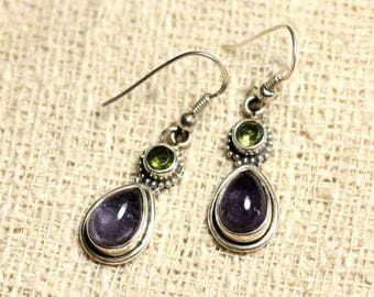 BO206 - earrings 925 sterling silver and 23mm stone - Iolite and Peridot