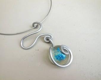 Cabochon Choker blue glitter