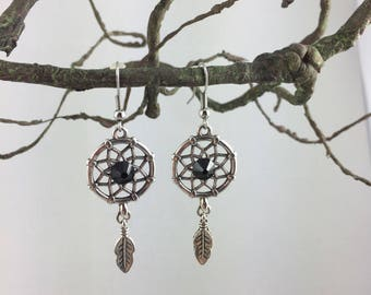 Dream catcher and feather Silver earrings