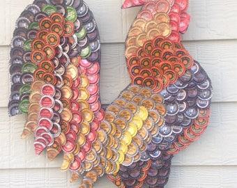 Bottle cap art Farm Rooster