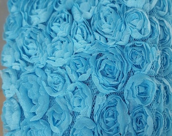 50 cm of tape lace flowers organza width 11 cm