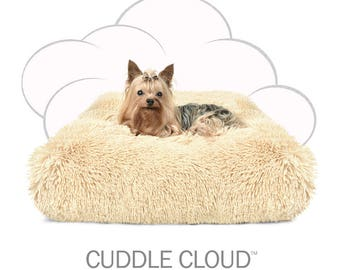 "Peluche Plush Cuddle Cloud Camel Shag Dog Bed - 24"" Square"