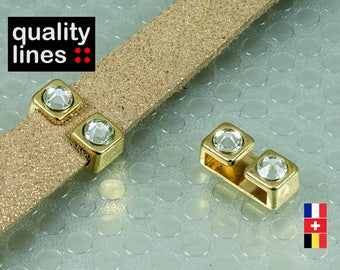 From Golden 2 rhinestones zamak cord flat leather 10mm / 2mm - 10mm slide