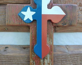 Red ,White, Blue Texas cross,barn wood,fence wood, rustic, western, handmade