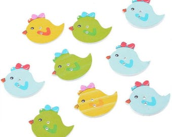3 large buttons wood chicken bird CHICK 30 x 25 mm - 2 holes - multicolored white background