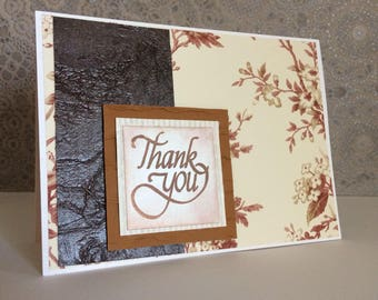 Thank you card/hand stamped/stamped card/thank you/sentimental/appreciation/gratitude card/embellished/flower card/merci beaucoup/gracias
