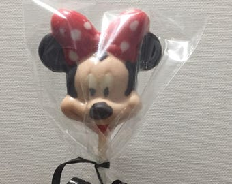 Minnie Mouse chocolate lollipops.