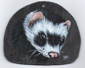 ferret acrylic painting on Slate