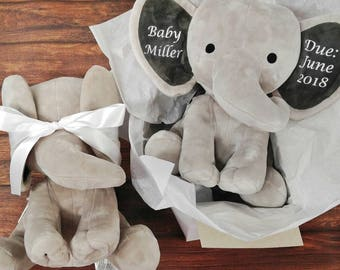 Preganancy announcement - new baby gift - gift for new grandparents - new baby announcement - surprise pregnancy - elephant baby stats