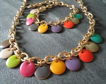 Gold chain and Pastilles multicolor confetti trendy necklace
