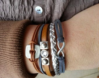 Grey Camel Brown Infinity bracelet