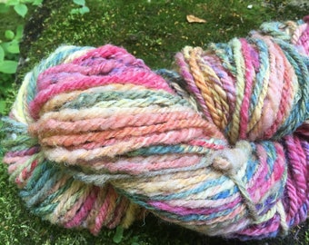 135 g hand dyed and handspun wool.