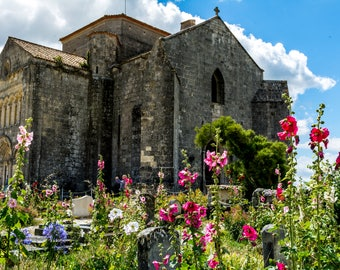 Church Holy RADEGUND de Talmont-sur-Gironde surrounded by a cemetery where hollyhocks grow in summer