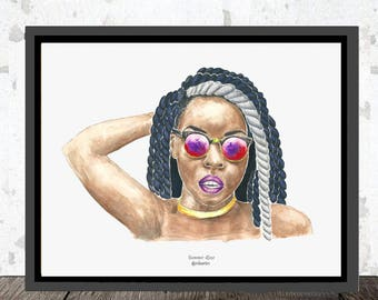 Digitized sheet of original watercolor. Summer Roze, Portrait woman. Artist, singer, singer, Blackwoman, portrait, artist, Dancehall.