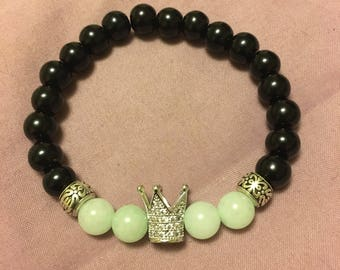 Silver Crown and Green Jade Bracelet