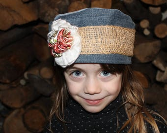 Medieval spirit recycled denim and burlap Hat