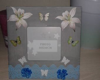 Flowers and butterflies picture frame