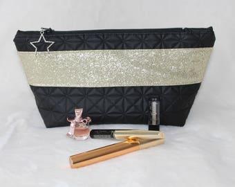 Black and gold make-up bag / toiletry bag