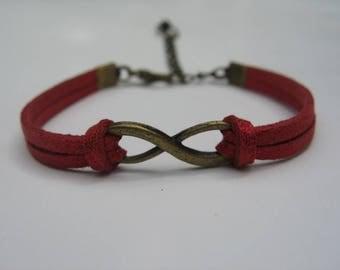 Infinity bracelet suede red glitter