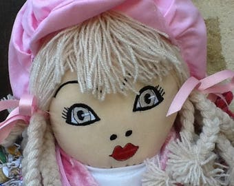 Embroidered face cloth doll