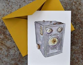 Brownie Camera card - watercolor