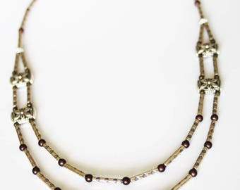 Necklace double strand necklace with Tibetan silver, magical Brown and bronze beads, metal beads