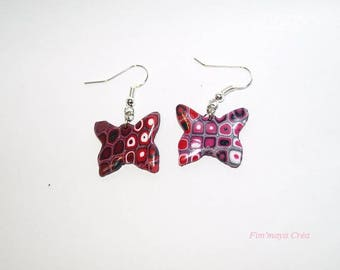 Ethnic earrings Butterfly pink and Burgundy
