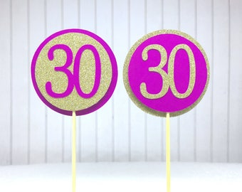 """30th Birthday Cupcake Toppers - Gold Glitter & Hot Pink """"30"""" - Set of 12 - Elegant Cake Cupcake Age Topper Picks Party Decorations"""