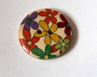 Fleur Flower Power Seventies Hippie - Scrapbooking Home Decor sewing wooden button