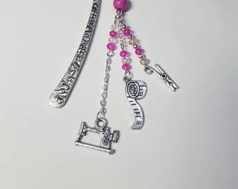 "Small bookmark ""seamstress"" pink Crystal and fuchsia"
