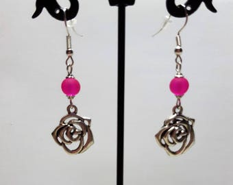 Earrings pink and fuchsia frosted glass beads