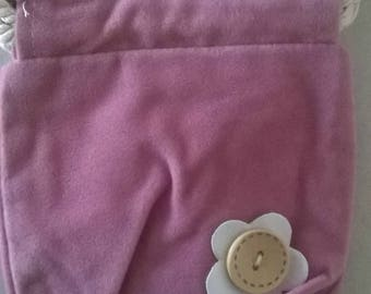 LARGE FELTED WOOL BAG PINK WITH FLOWER BUTTON