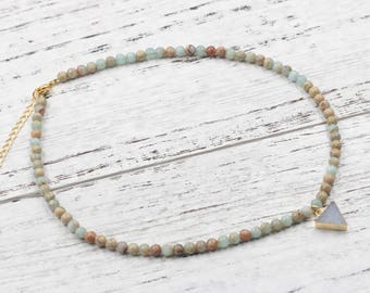 Aqua Terra Jasper Beaded Choker Necklace With Small Druzy Charm For Bridesmaids Jewelry Party Gift Natural Gemstone Necklaces