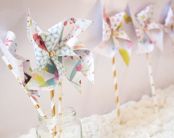 Set of 6 pinwheels in summer colors