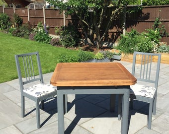 Upcycled table & chairs with hand printed design