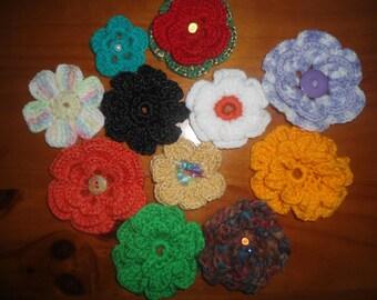 Set of crochet flowers handmade 21