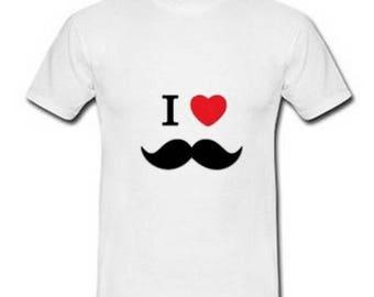 Men's white cotton T-shirt, i love mustache