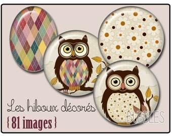 Owls Printable Images Digital Collage Sheet for Jewelry Making - Digital collage sheets