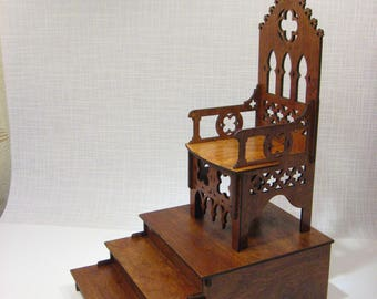 BJD Throne Chair + Podium GOTHIC Furniture For Dolls 1/4 Scale Dollhouse  Furniture TONNER