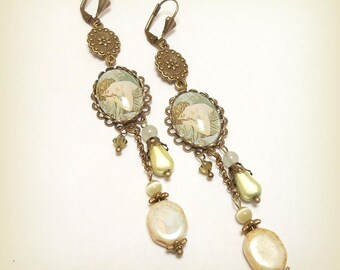 """Earrings cabochon """"Mucha - night's rest"""""""