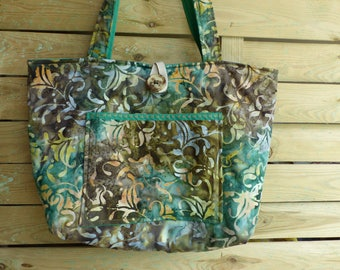 Purse large handles quilted batik fabric
