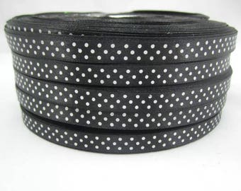5 meters of Ribbon satin satin black 9mm white polka dots