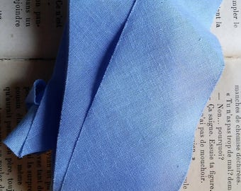 coupon 1 meter fabric sky blue cotton 4.2 cm wide