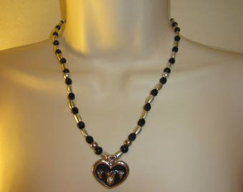 Necklace black and silver heart pendant