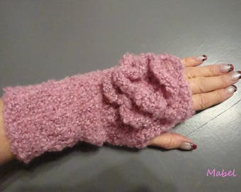 Pink mittens, knit handmade flower crochet, soft and warm, not itchy