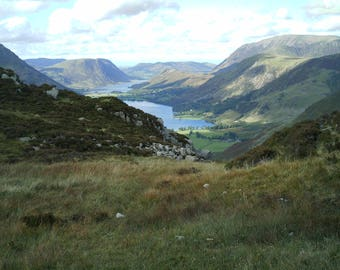 Greetings card Cat no 50 Buttermere and Crummock water from Haystacks, English lake district