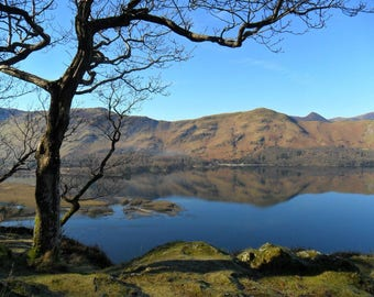 Greetings card Cat no 39 Derwent water and Catbells from Ashness, English Lake District