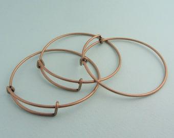 Set of 3 adjustable bangle bracelets - Nickel free - Bronze color