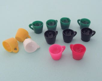 Lot of 12 multicolored miniature resin cups or mugs for your miniature food creations in polymer clay, resin, cold porcelain, etc.